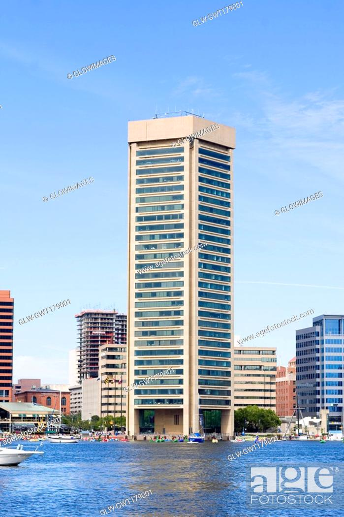Stock Photo: Buildings at the waterfront, World Trade Center, Inner Harbor, Baltimore, Maryland, USA.