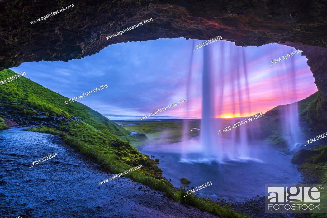 Stock Photo: Sunset from the footpath behind Seljalandsfoss Waterfall, Southern Region, Iceland.