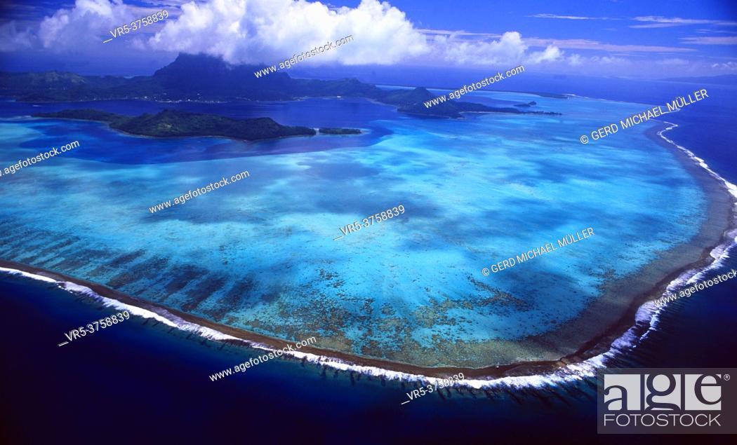 Stock Photo: French Polynesia: Helicopter flight and airshot from Bora Bora Island.