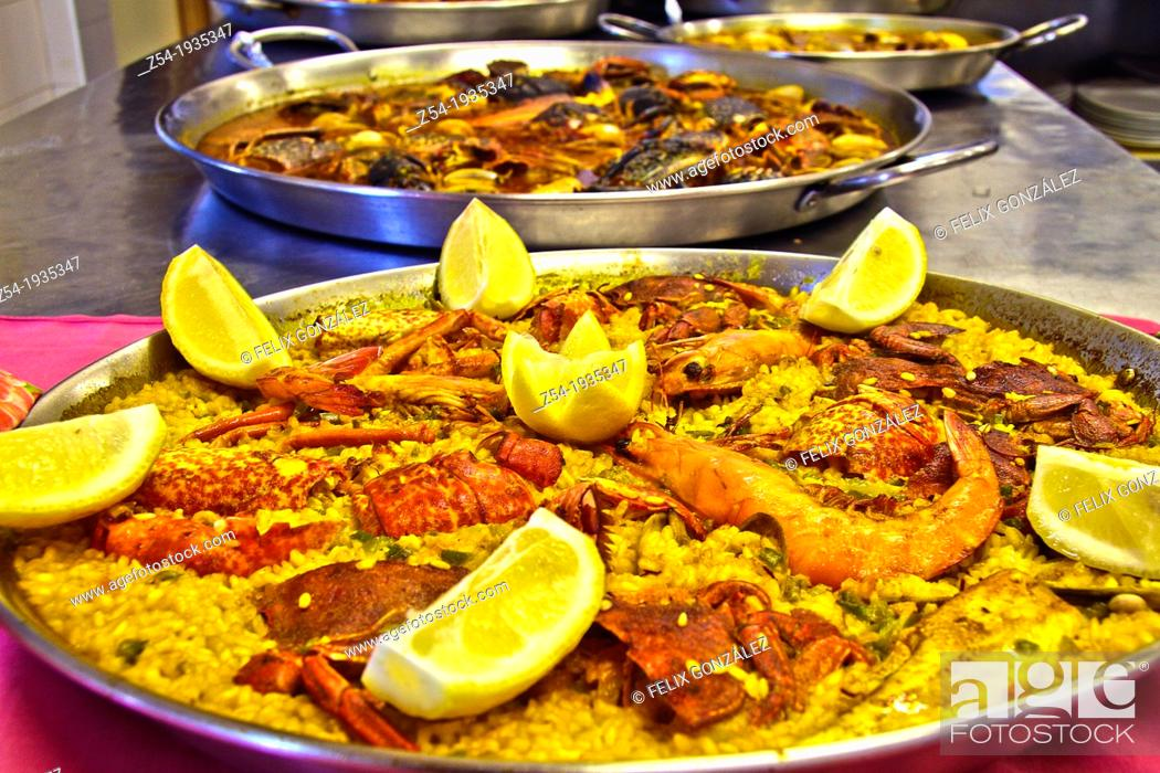 Stock Photo: Sellfish paella, Gijon, Asturias, Spain.