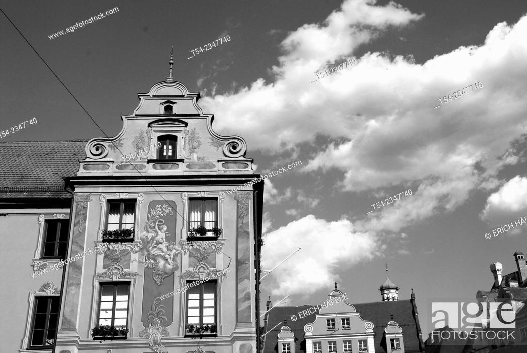 Stock Photo: The Baroque facade of the house tax tax house in Memmingen, Germany.