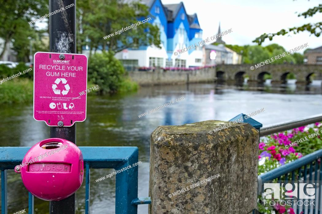 Stock Photo: Recycle your gum collection container Footbridge over the Garavogue River in Sligo, Ireland.