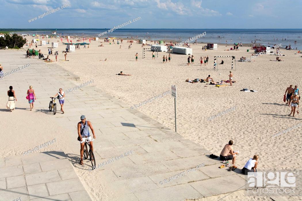 Stock Photo Estonia Baltic States Parnu The Main Seaside Resort Of Country Ranna Beach
