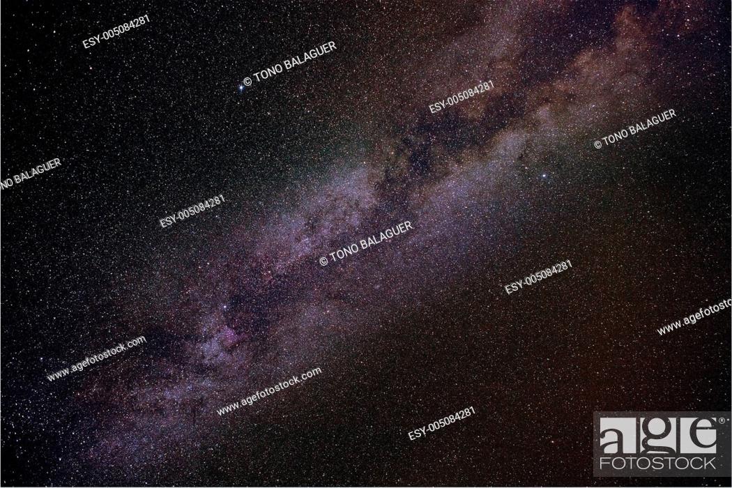 Stock Photo: Milky way stars in summer night.