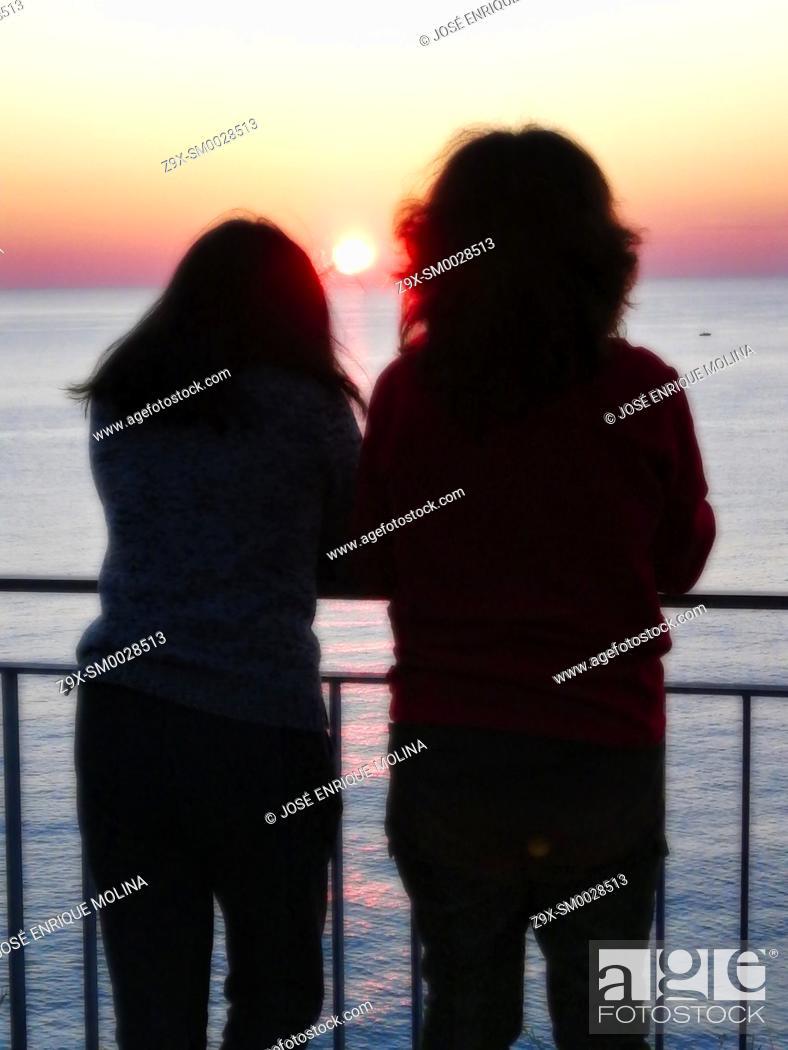 Stock Photo: Mediterranean sunset, Barcelona, Catalonia, Spain, Europe.
