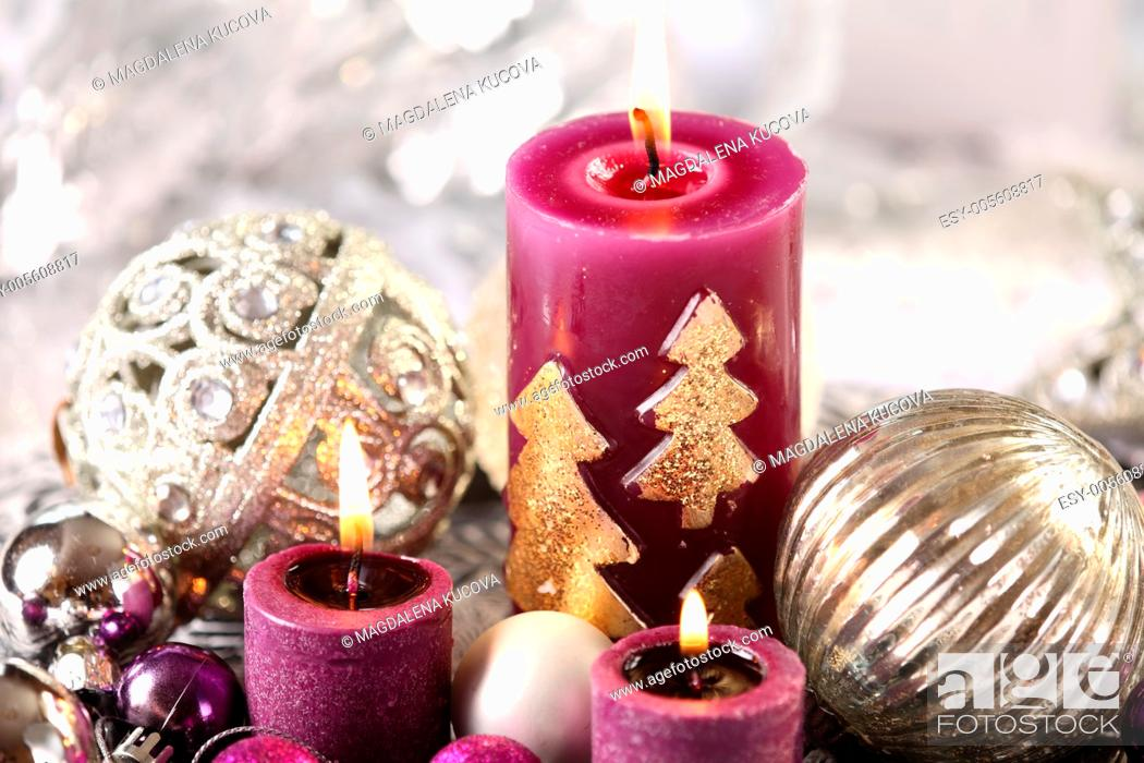 Stock Photo: Silver and purple Christmas decorations.
