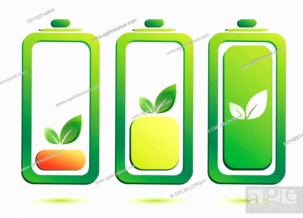 Stock Vector: eco battery charge level, vector icons.