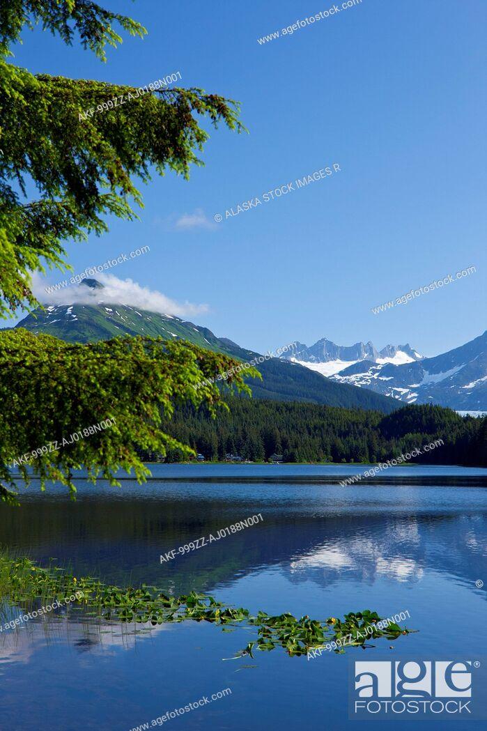 Stock Photo: Scenic view of Auke Lake and Mendenhall Glacier and Coast Range Mountains, Southeast Alaska, Summer.