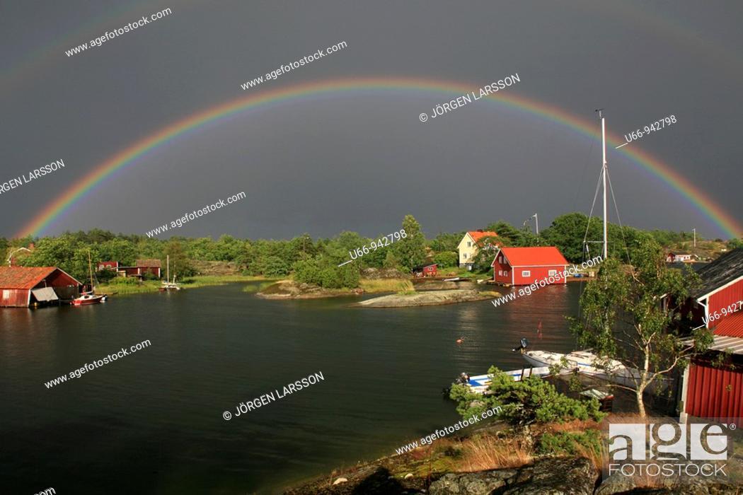 Stock Photo: Rainbow, Nävelsö, Småland, Sweden.