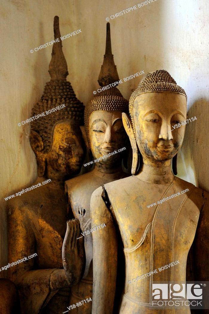 Stock Photo: Buddha statues, temple of Vat Visun, Luang Prabang, Laos.