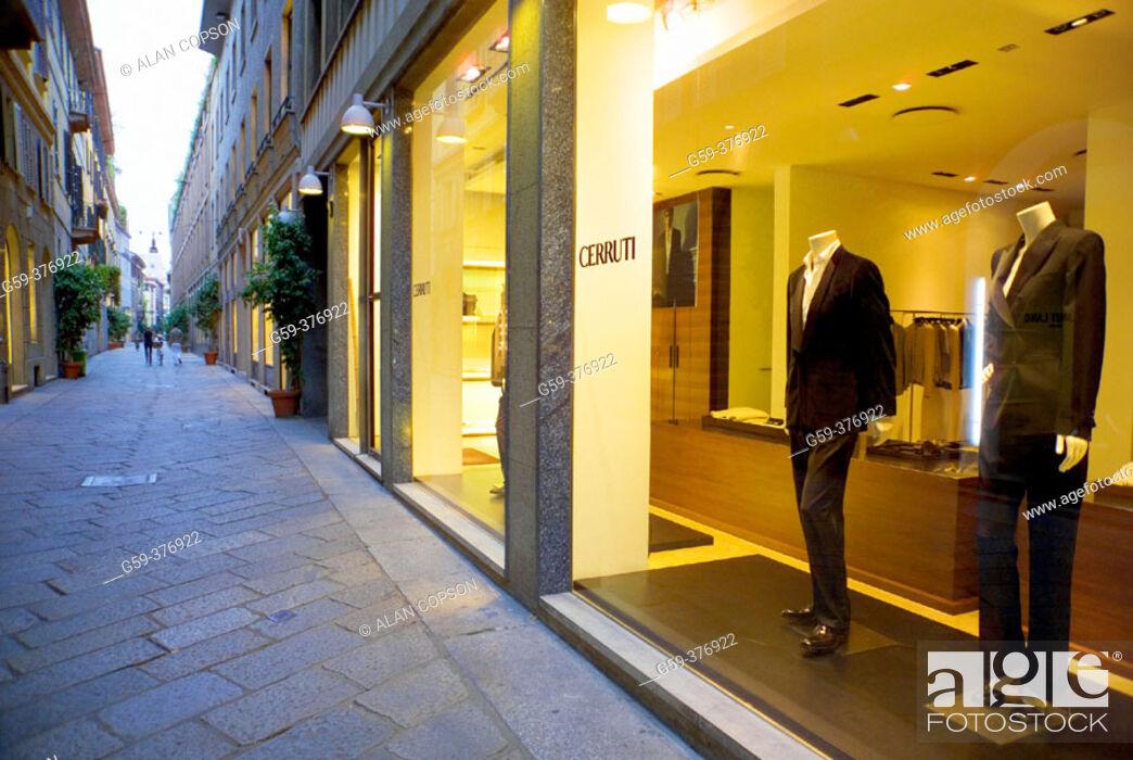 Stock Photo: Italy. Lombardy. Milan. Quadrilatero Fashion Area. Via Della Spiga. Cerruti shop.