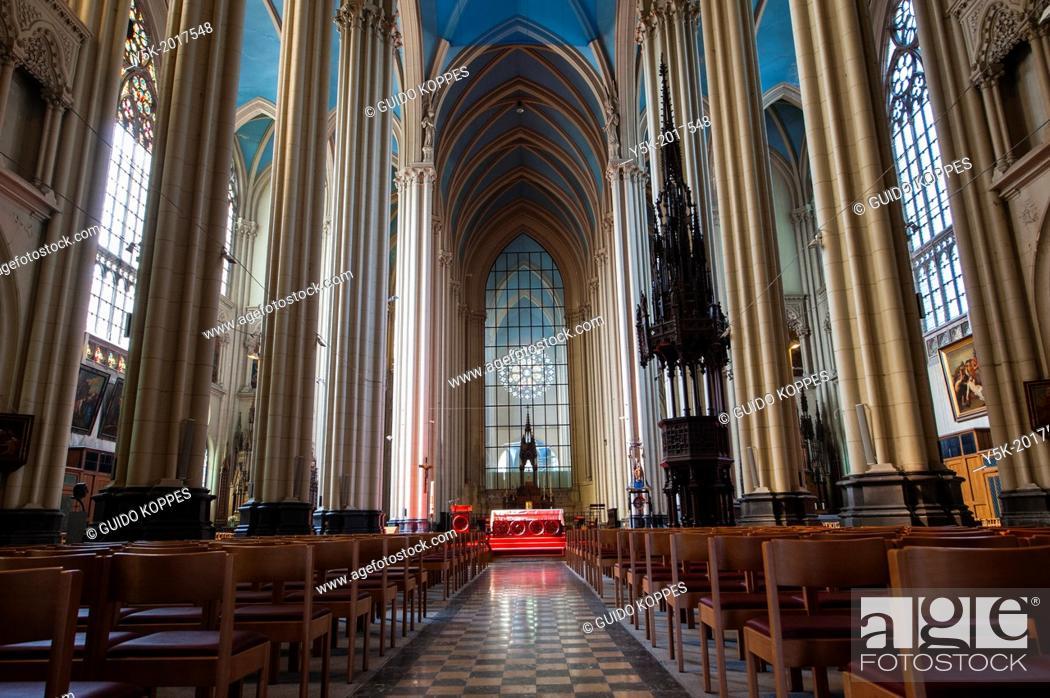 Stock Photo: Laken, Brussels, Belgium. Interior of the Notre Dame Church or Onze Lieve Vrouwe Kerk.