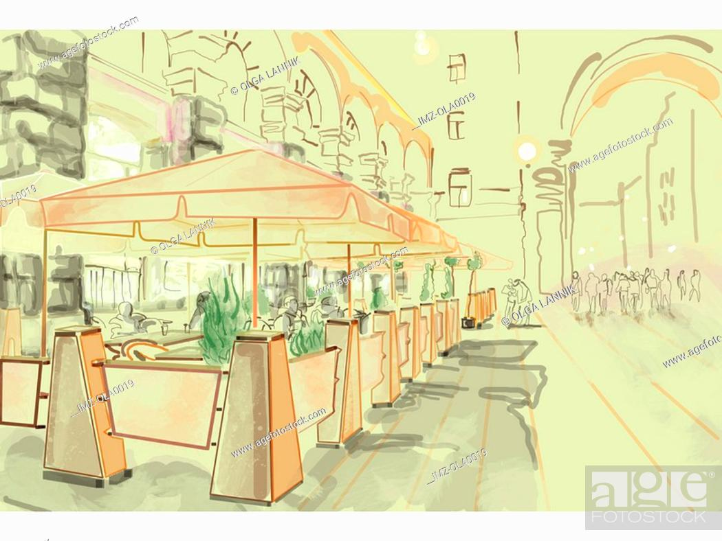 Stock Photo: Outdoor patio seating of a restaurant in a city square.