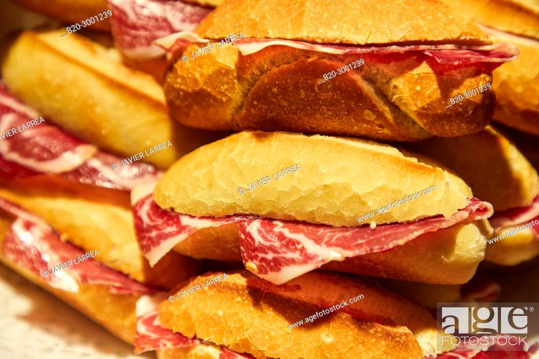 Stock Photo: Ham sandwich, Pintxos, Bar Taberna Aralar, Parte Vieja, Old Town, Donostia, San Sebastian, Gipuzkoa, Basque Country, Spain.