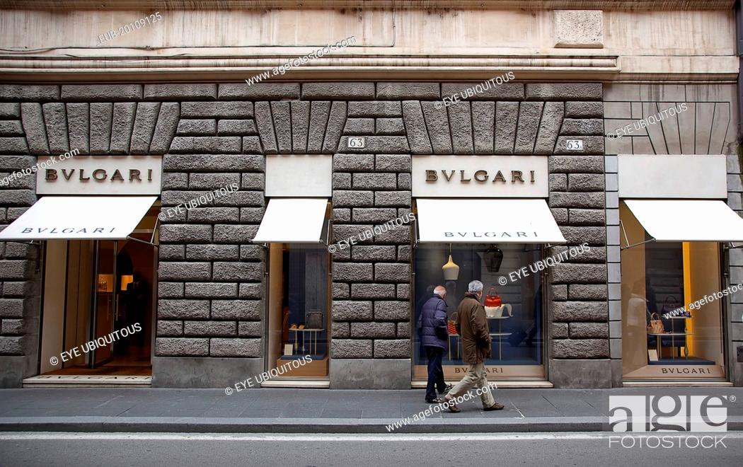 Stock Photo Via Del Condotti Exterior Of The Bulgari Handbag