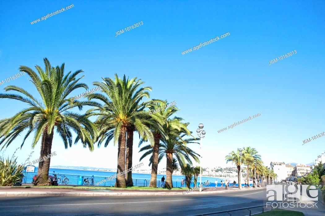 Stock Photo: Promenade des Anglais, Nice, Provence-Alpes-Cote d'Azur, France, Europe.