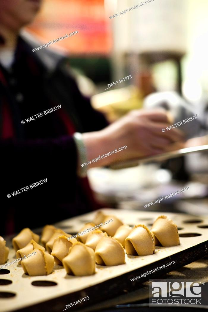 Stock Photo: USA, California, San Francisco, Chinatown, fortune cookie factory.
