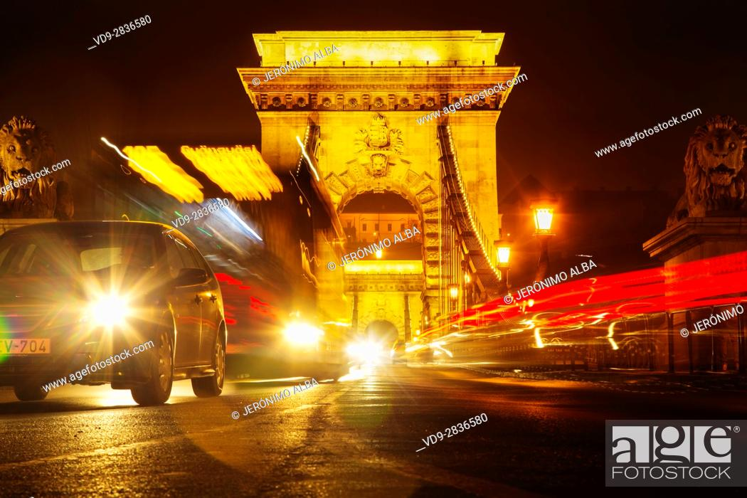 Stock Photo: Chain Bridge over the Danube river in the evening, engineer William Tierny Clark. Budapest Hungary, Southeast Europe.