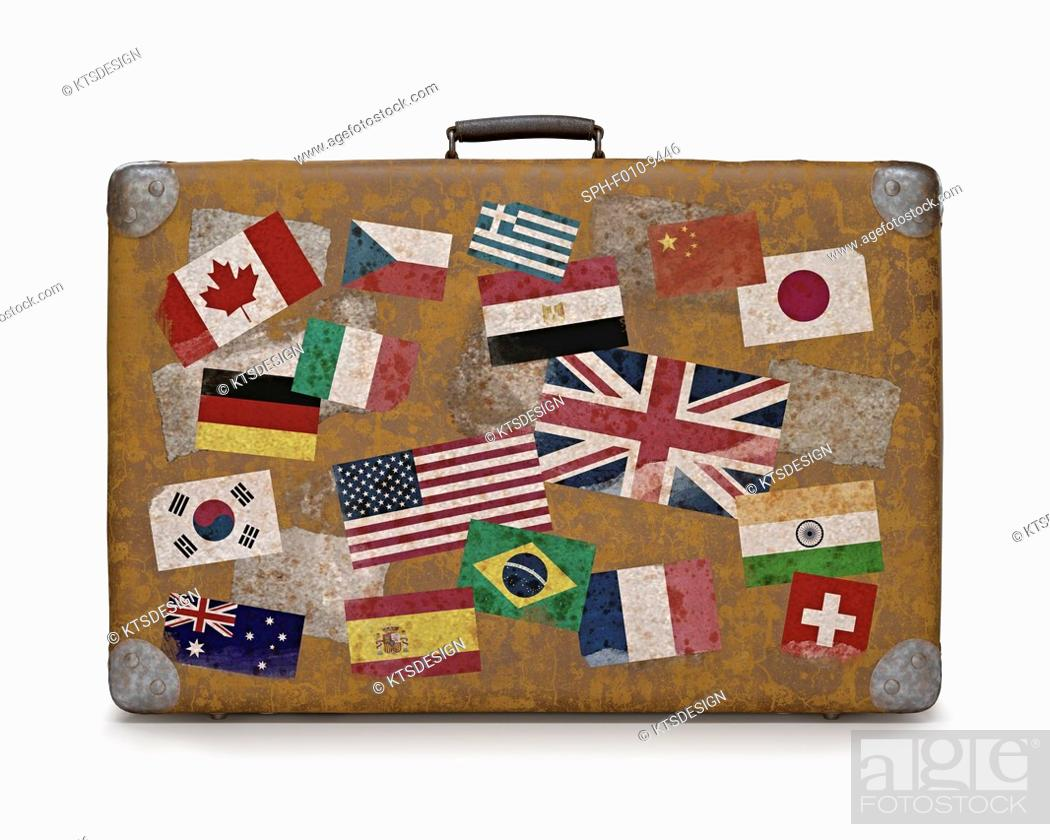 Photo de stock: Vintage suitcase covered with flag stickers, computer illustration.