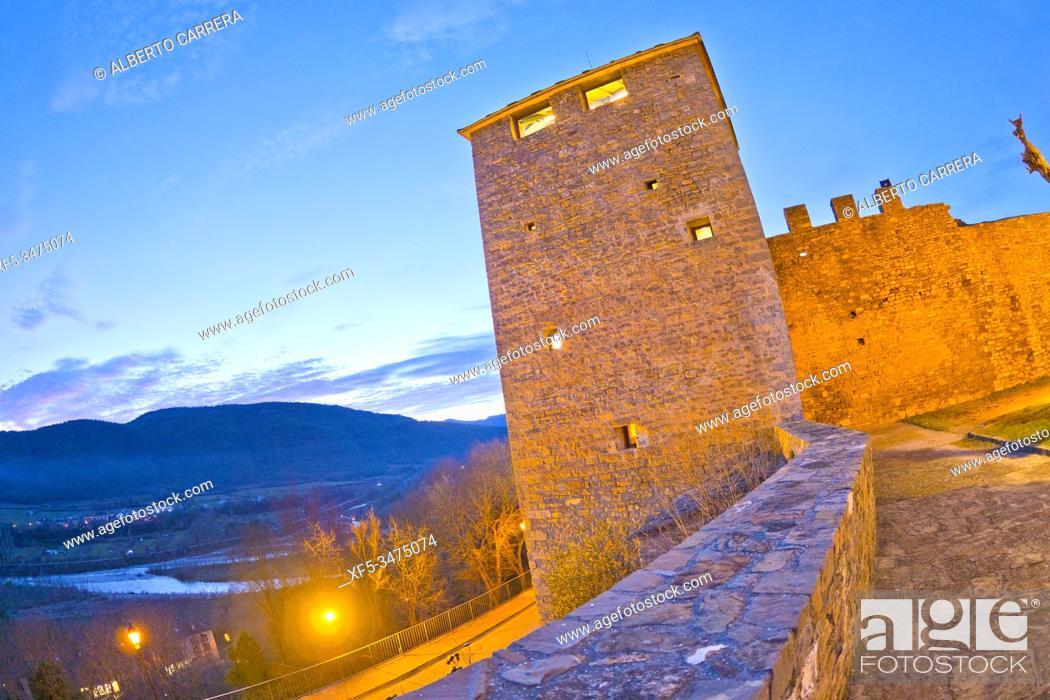 Stock Photo: City Wall, 11-15th Century, Medieval Village of Aínsa, Villa de Aínsa, Sobrarbe, Huesca, Aragón, Spain, Europe.