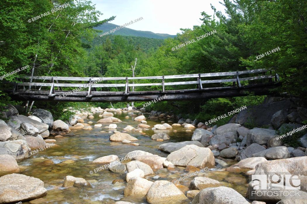Stock Photo: Pemigewasset Wilderness - Footbridge, which crosses the East Branch of the Pemigewasset River along the Thoreau Falls Trail at North Fork Junction in Lincoln.
