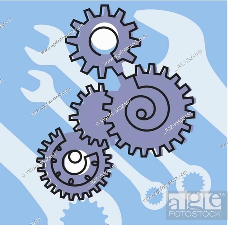 Stock Photo: Gears and wrenches.