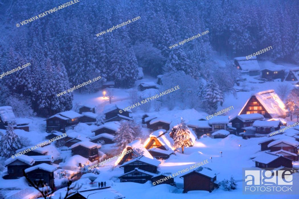 Stock Photo: Winter Landscape of Shirakawago light-up with Snowfall Gifu Chubu Japan.