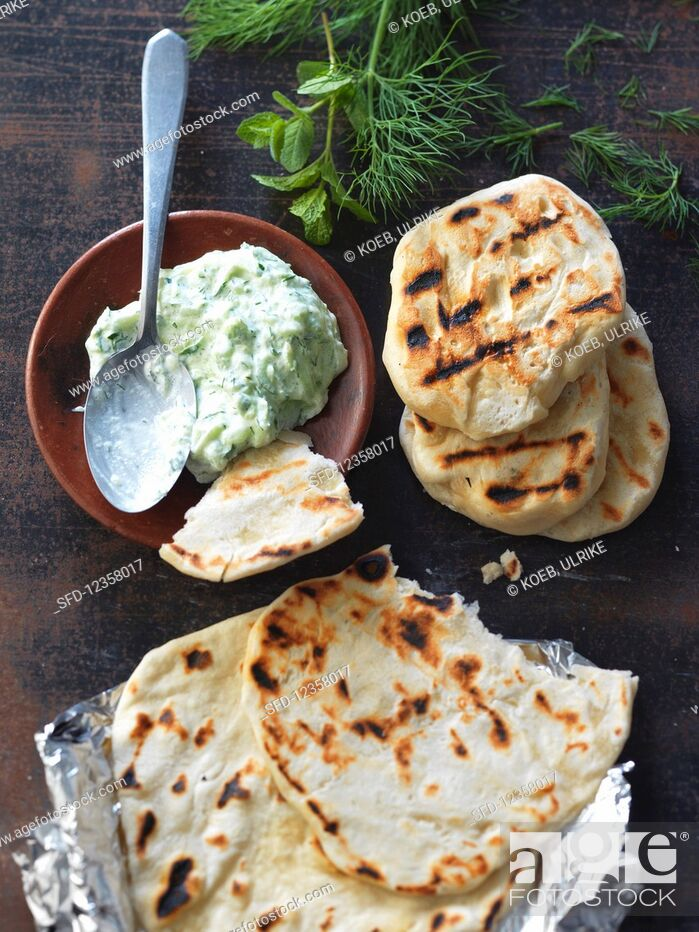 Stock Photo: Grilled bread with tzatziki.