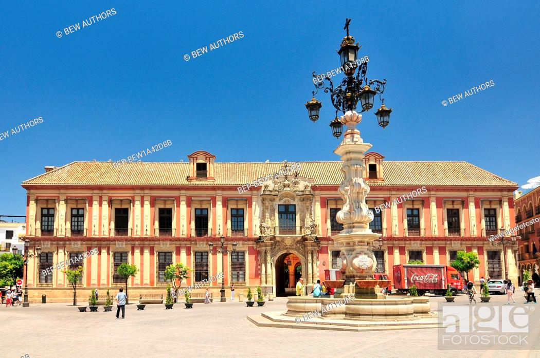 Stock Photo: Fountain and the Archbishop's Palace beside Seville Cathedral, Plaza Virgen de los Reyes, Seville, Spain.