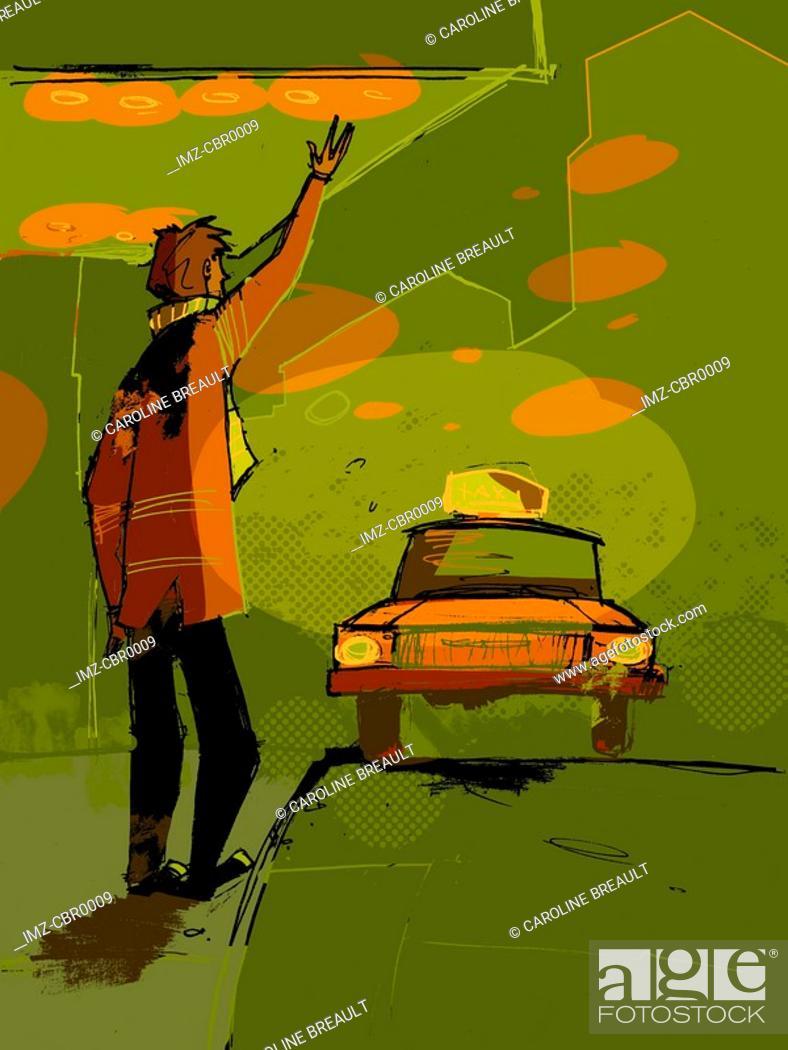 Stock Photo: A man hailing a taxi cab.