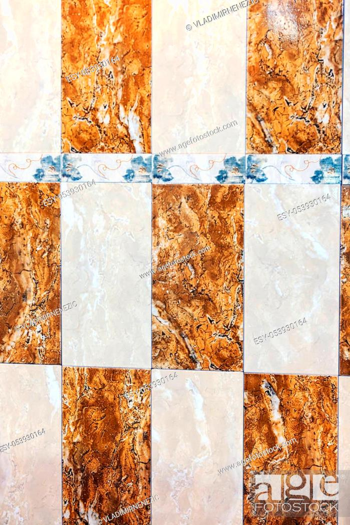 Stock Photo: Close up of colorful bathroom and wall decorated ceramic tiles.