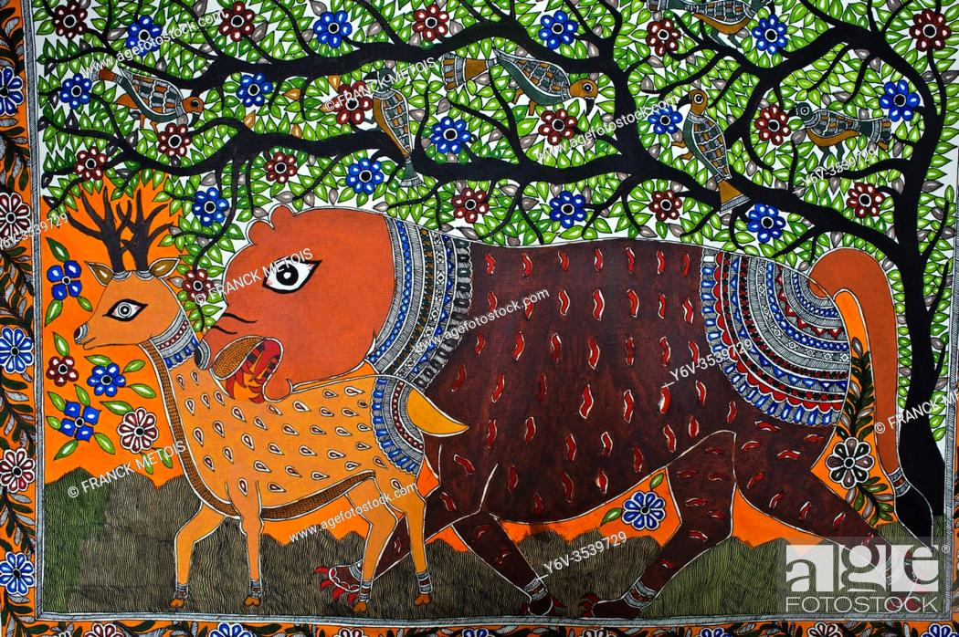 Stock Photo: Madhbani painting ( Bihar, India). The Madhubani ( or Mithila) style of painting is an art form practiced in northern India and southern Nepal.