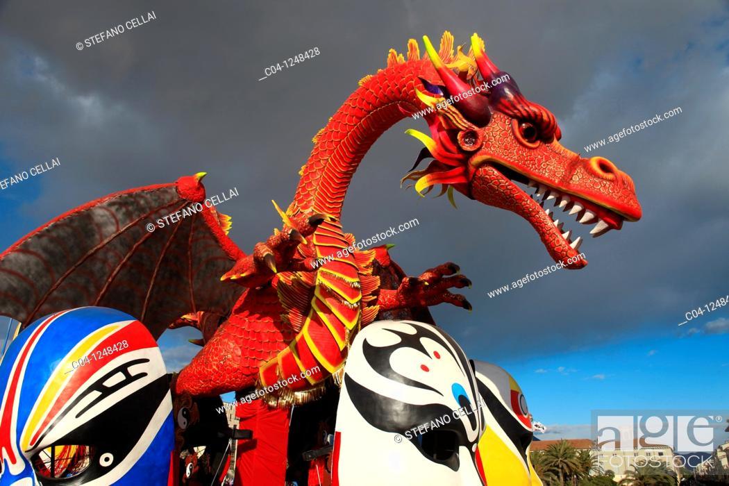 Stock Photo: Viareggio carnival, Lucca, Tuscany, Italy.