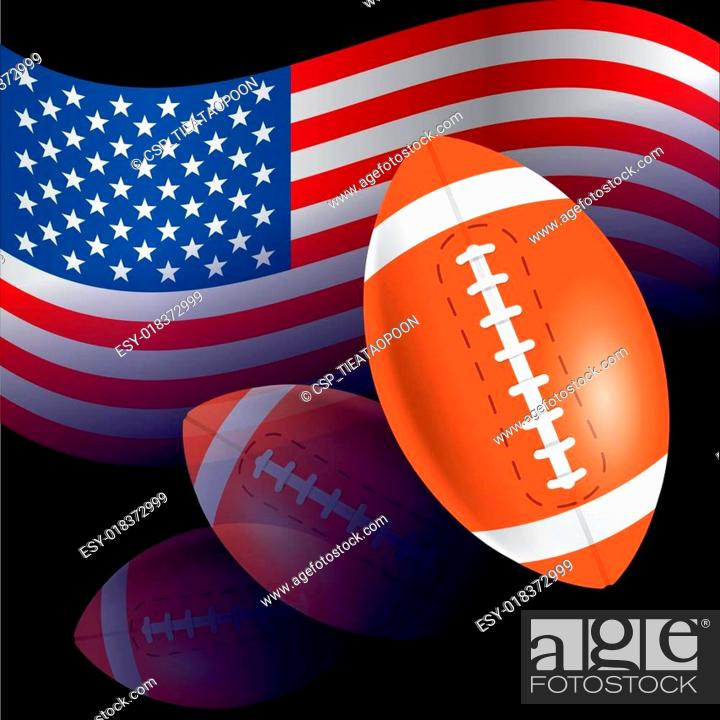 Vector: Flag of United States with American football, rugby.