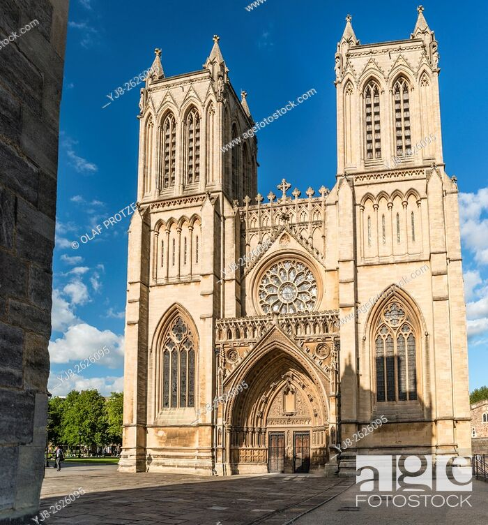 Stock Photo: The Cathedral Church of the Holy and Undivided Trinity, also known as Bristol Cathedral, on College Green, Somerset, England, United Kingdom.