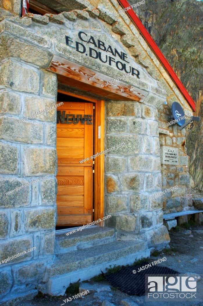 Stock Photo: Switzerland Valais Val Ferret  The Cabane de l'A Neuve mountain hut also known as cabane dufour 2735m, 8973ft.