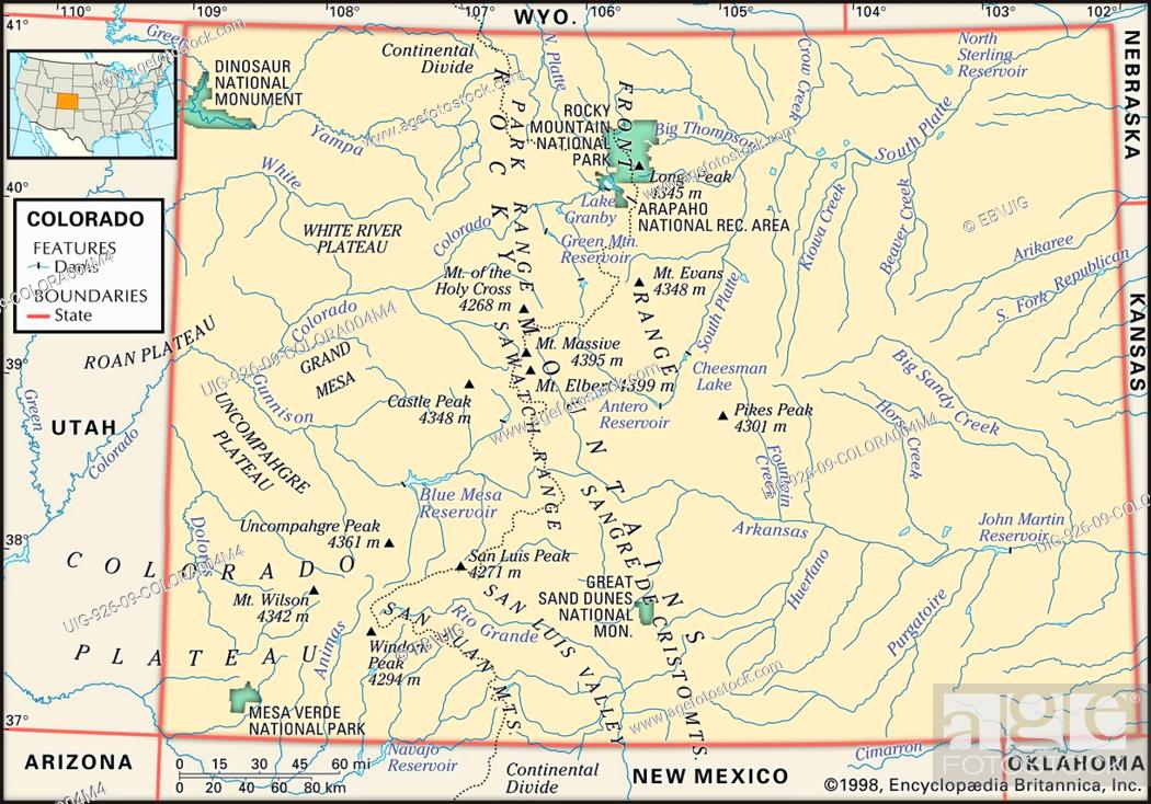 Physical map of the state of Colorado showing major national parks ...