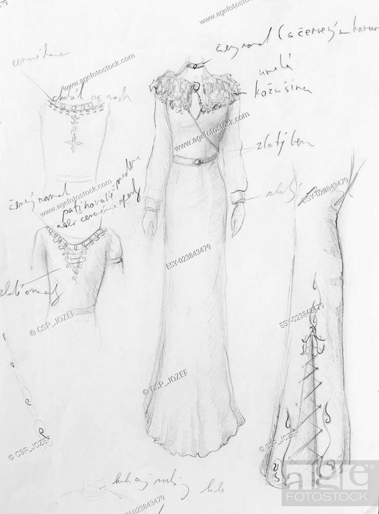 Imagen: drawing of woman medieval historic dress on paper, designer sketch, and ornamental pattern.