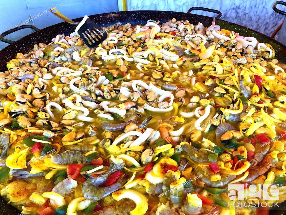 Stock Photo: Spanish dish paella in a street market i Ystad, Sweden.