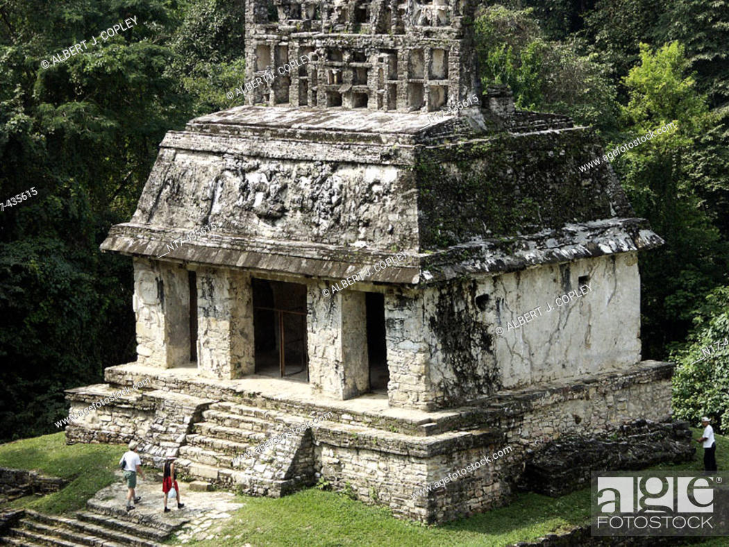 Stock Photo: Temple of the Sun in Palenque, Maya archeological site (600 - 800 A.D.). Chiapas, Mexico.