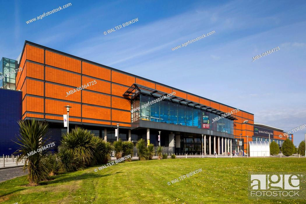 Stock Photo: UK, Northern Ireland, Belfast, Belfast Docklands, riverfront Odyssey Complex, science and entertainment venue.