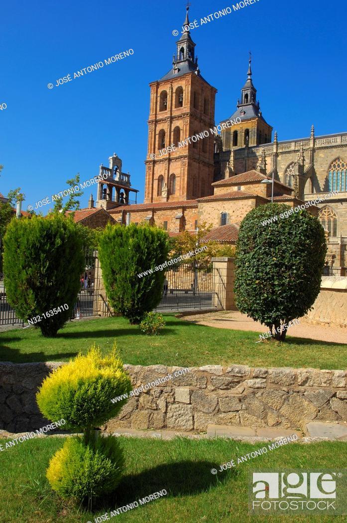 Stock Photo: Cathedral, Astorga, Via de la Plata (Silver Route), Leon province, Castilla-Leon, Way of St James, Spain, Europe.