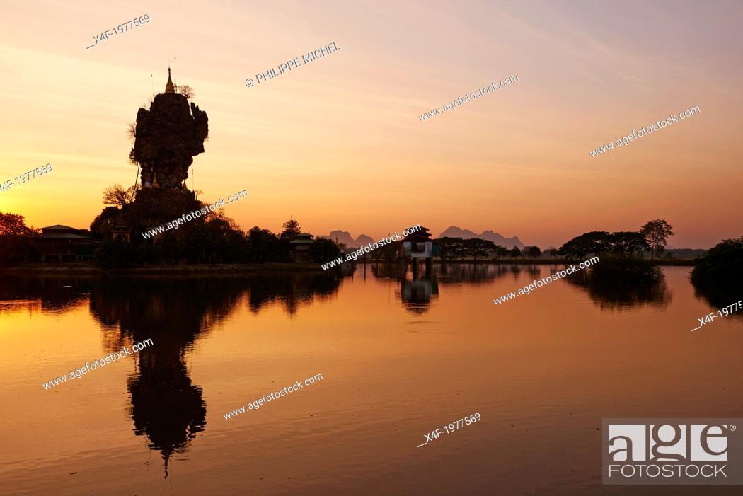 Stock Photo: Myanmar (Burma), Karen state, Hpa An, Kyauk Kalap monastery.