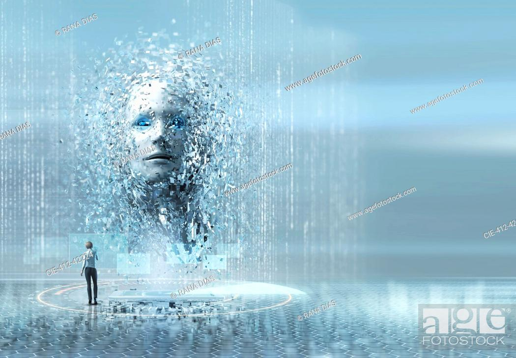 Stock Photo: Artificial intelligence woman looking up at face.