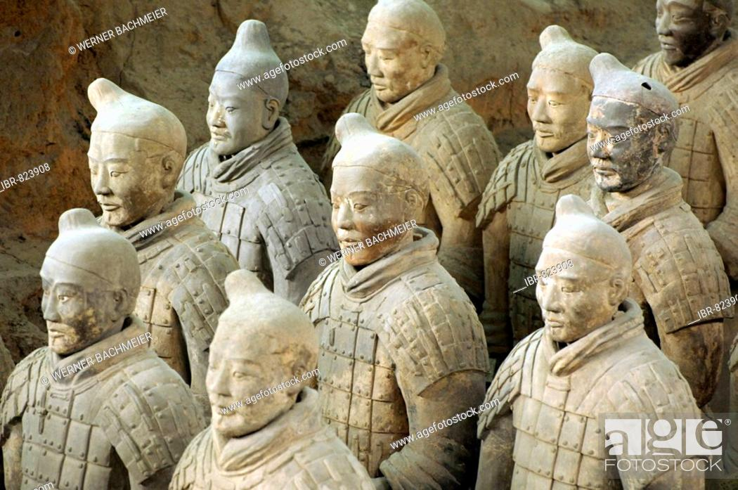 Stock Photo: Terracotta Army, Warriors, part of the tomb complex, Pit 1, mausoleum of the first Qin Emperor near Xi'an, Shaanxi Province, China, Asia.