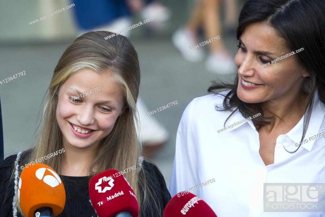 Stock Photo: Princess Leonor of Spain and Queen Letizia of Spain visit Juan Carlos after his heart surgery at Hospital Universitario Quirónsalud Madrid.