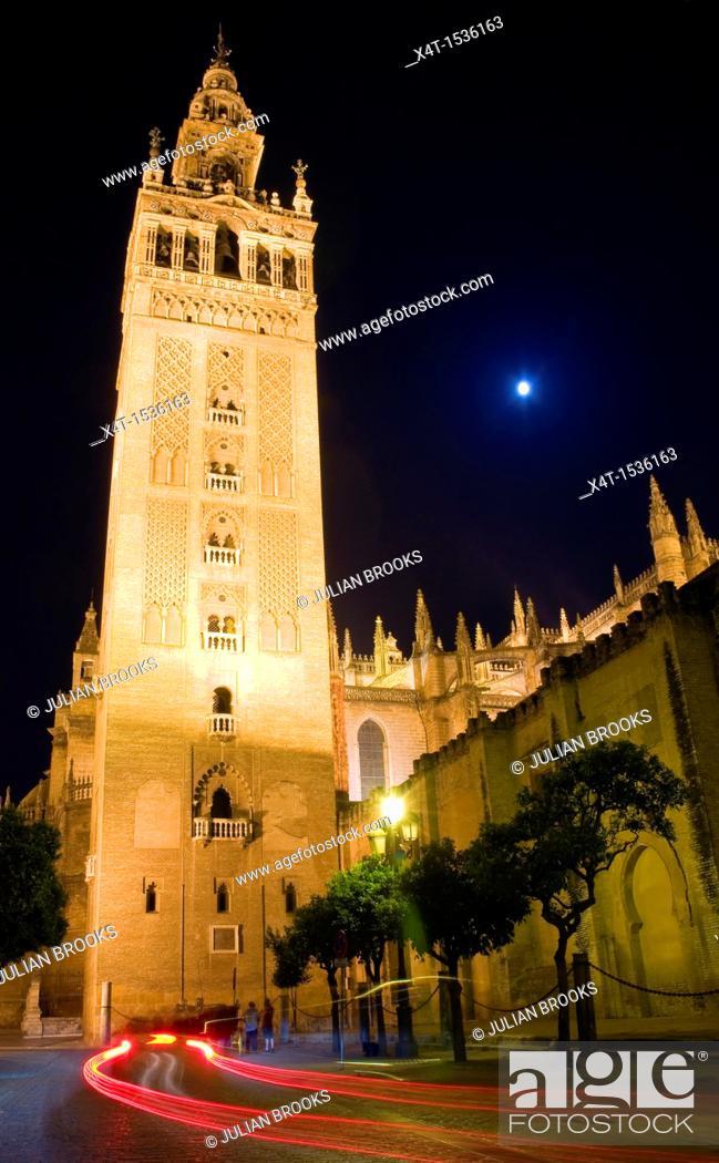 Stock Photo: Looking up at the Giralda, Seville, Spain, Night scene.