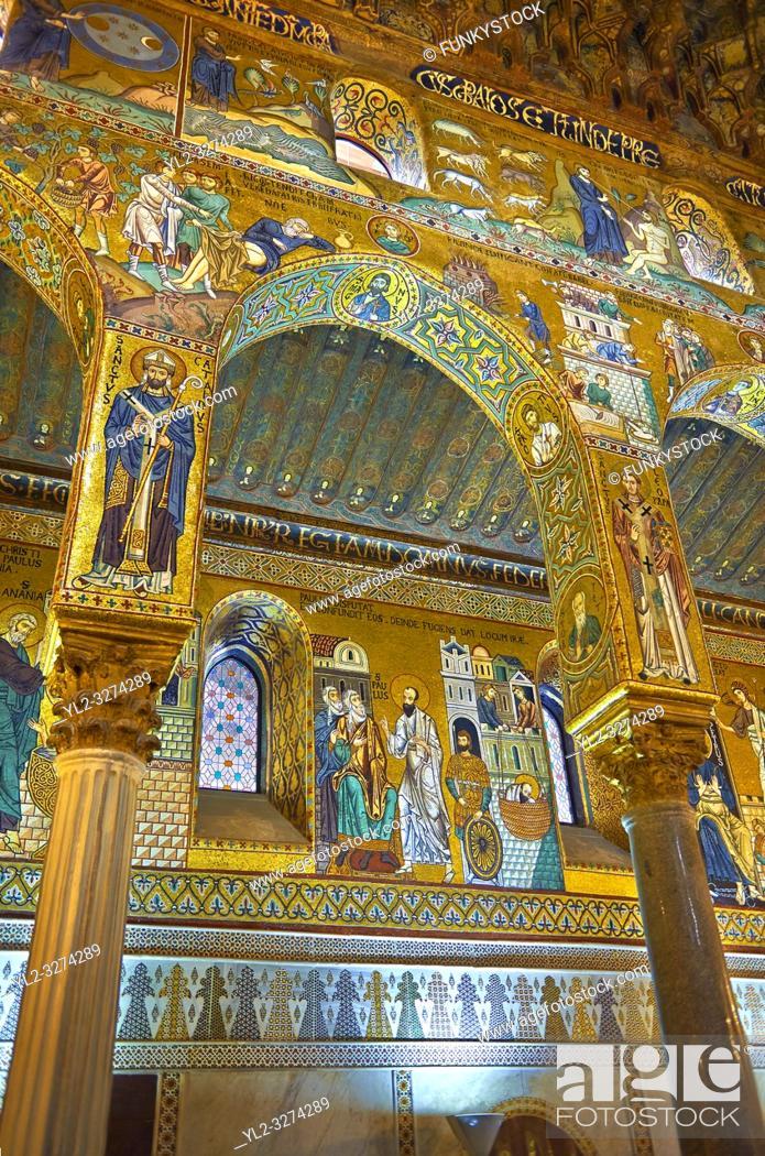 Stock Photo: Medieval Byzantine style mosaics of the side aisle arches, Palatine Chapel, Cappella Palatina, Palermo, Italy.