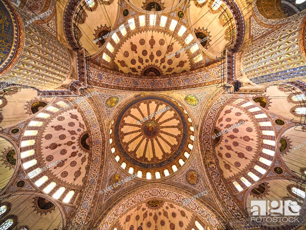 Stock Photo: Ceiling Detail. The Blue Mosque. (Sultan Ahmet Camii). Istanbul. Turkey.