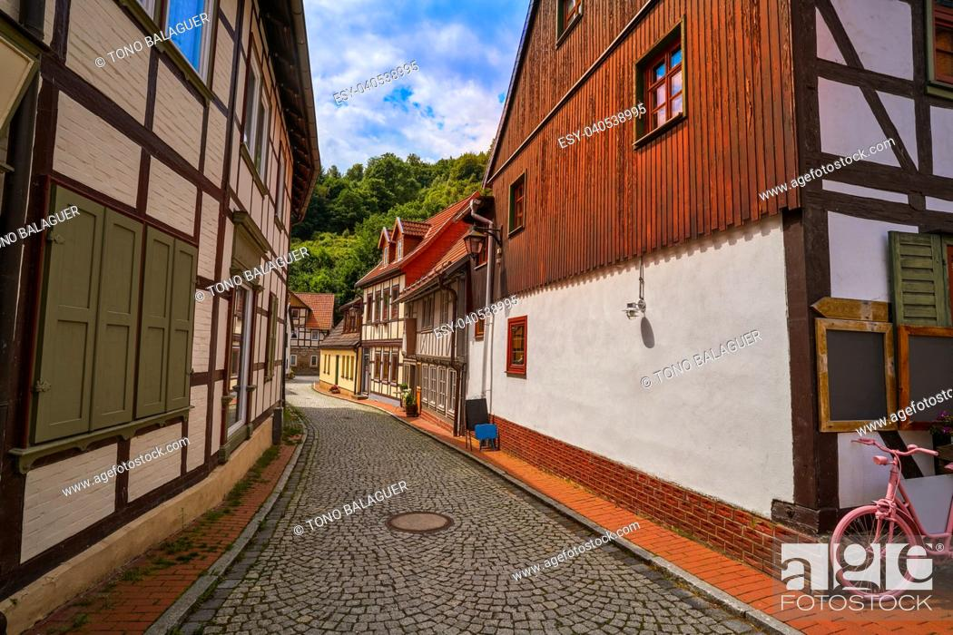 Stock Photo: Stolberg facades in Harz mountains of Germany.